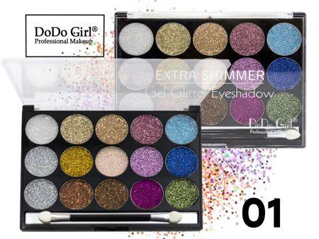 Мерцающие гелевые тени с блестками Do Do Girl, 15 цветов, ТОН 01